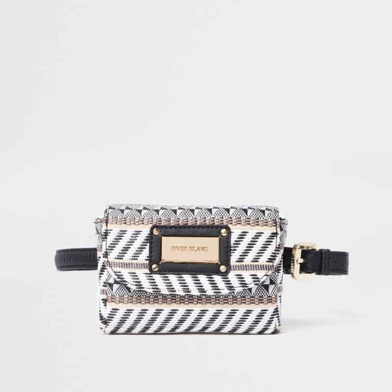 Black woven straw buckle bag $44