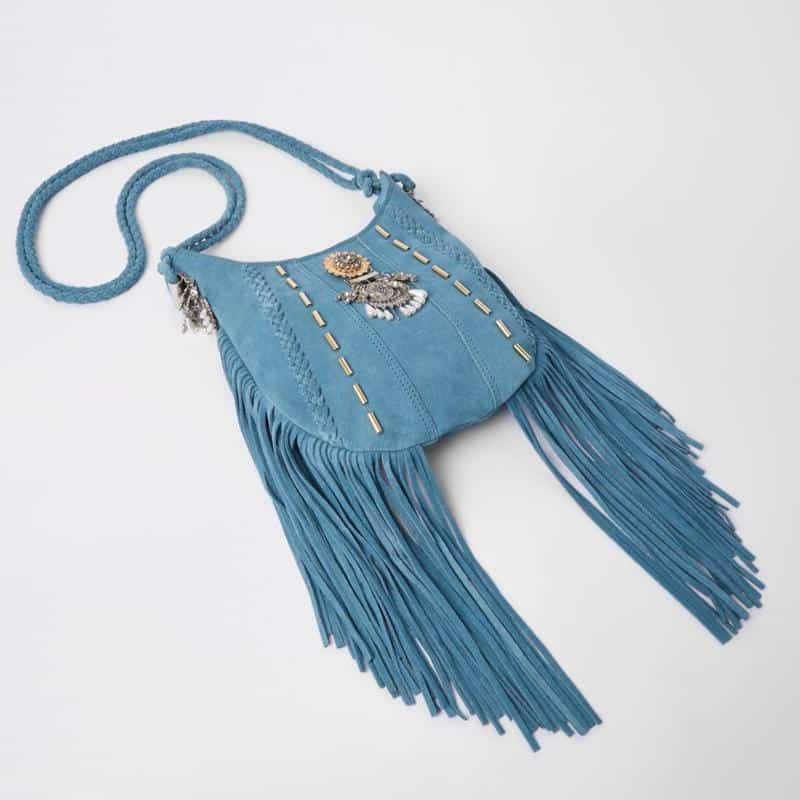 Blue embellished tassel  bag $130
