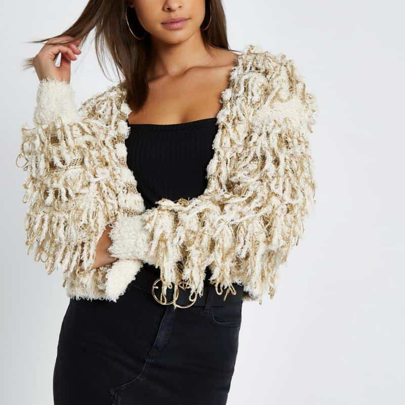 Cream stripe trophy knit cardigan $110