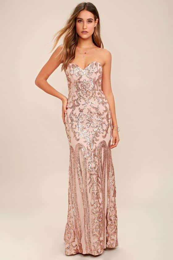 Gold Strapless Sequin $268