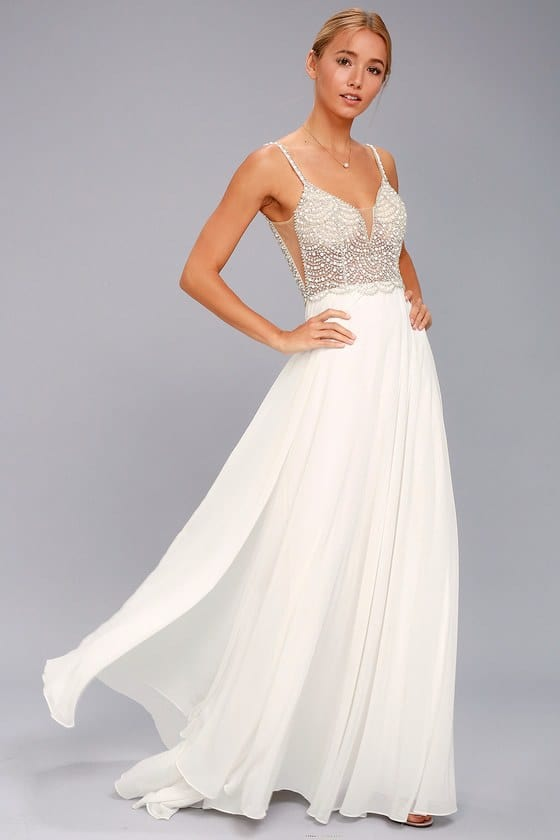 White Beaded Rhinestone $252