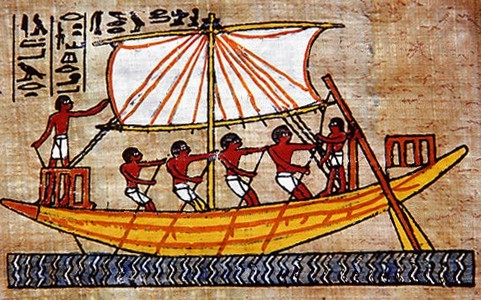 Ancient Egyptian art made on papyrus depicting men on a boat. The ancient Egyptians made papyrus (paper) from papyrus reeds (Cyperus papyrus). The ancient Egyptian culture thrived around the river Nile from around 3000 BC until the growth of the Roman Empire swallowed it some 3000 years later.